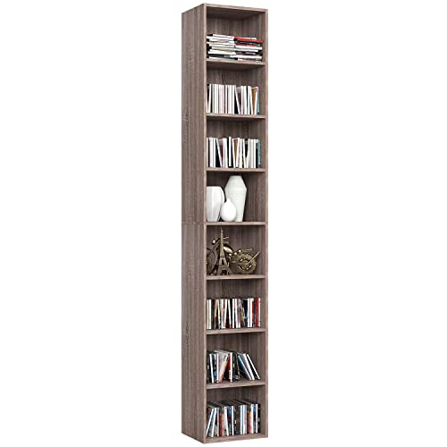 Homfa CD DVD Storage Tower Rack, 8-Tier Wooden Media Storage Organizer Cabinet Unit, 71 Inches Height Bookshelf Display Bookcase with Adjustable Shelves for CDs, Books, Video Games, Arts, Oak