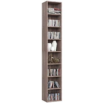 Homfa 180cm Meuble Rangement Bibliotheque Etagere Cd Colonne Musique