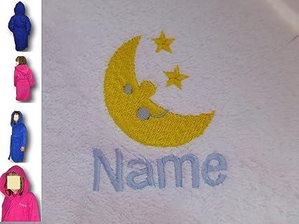 Para niños con capucha albornoz con una luna y estrellas Logo y nombre de su elección en color rosa. Edades 2, 4, 6, 8, 10 o 12, Rosa, Edad 4: Amazon.es: ...