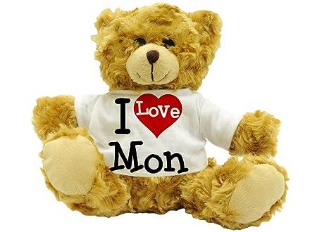 I Love Mon - Cute Plush Teddy Bear Name Gift (22cm High Approx ...