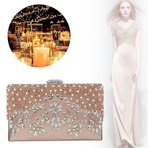 Bagood Bag Handmade Evening Party Crystal Glassbeads Women's Clutch Purse Champagne Rhinestones Handbag Embroidery rx0Zgqrwp