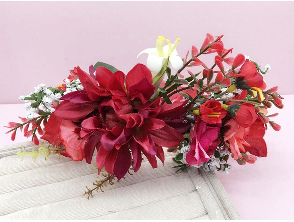 Wreath Flower, Headband Flower Garland Handmade Wedding Bride Party Ribbon Headband Wristband Hairband Blue/Red/White (Color : Red) by Wreath