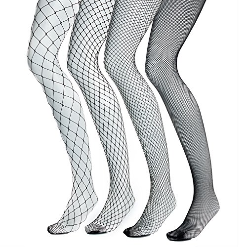 Fishnet Pantyhose for Women,Pack of 4 ,Hollow Out Industrial Net Stockings, Sexy High Waist Fence Tights (Small+Medium+Large+Extra Large (Black Industrial Fishnet)