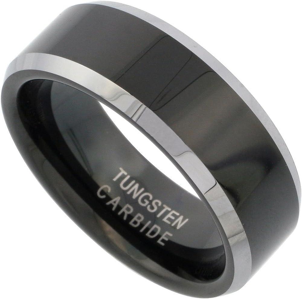 Sabrina Silver Tungsten Carbide 8 mm Flat Wedding Band Ring Two-Tone Black Finish Beveled Edges, Sizes 7 to 14