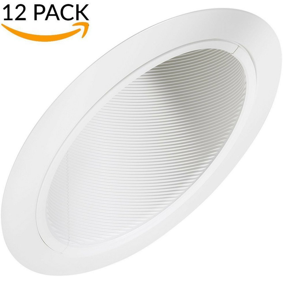 Recessed Can Fixture Trims for Sloped Ceiling - 6 Inch Slope Angled Stepped Baffle Trim for BR30 PAR30 - For Remodel and New Construction Applications - Four Bros Lighting SB30/WHT/SLOPE (12 Pack)