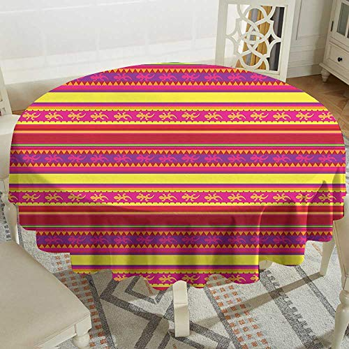 clear round tablecloth 60 Inch Mexican,Vibrant Colored Striped Pattern with Abstract Lizard Animal Figures Folk Borders,Multicolor Suitable for traveling,outdoors,family,restaurant,coffee shop More