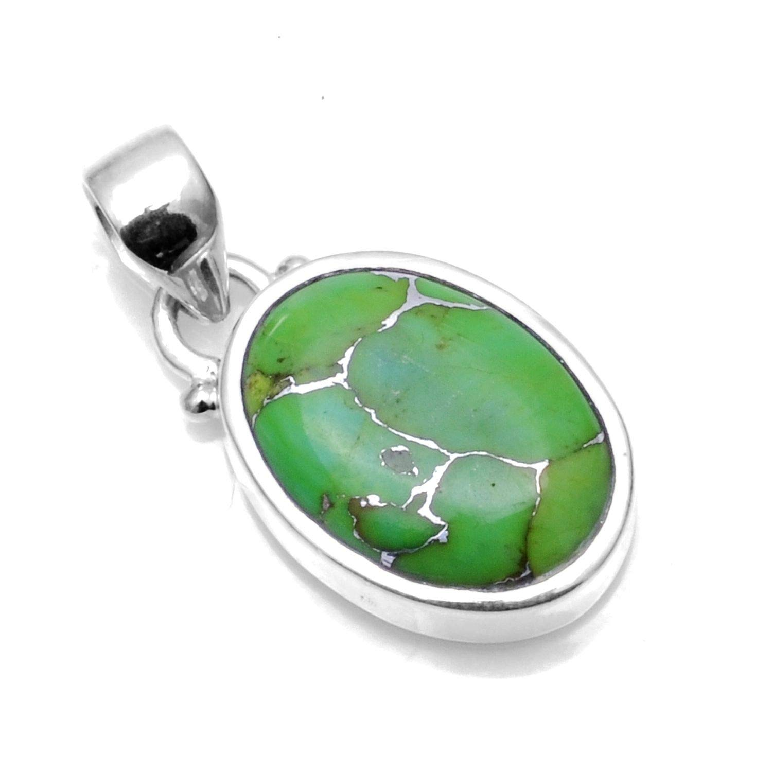 Silver Palace 925 Sterling Silver Natural Green Copper Turquoise Pendants for Women and Girls