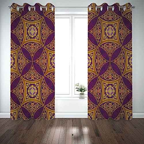 """Price comparison product image Grommet Blackout Curtains Digital Printing Thermal Insulated Curtains,  Living Room Bedroom Window Drapes 2 Panel Set,  Multicolor,  108""""X96"""""""