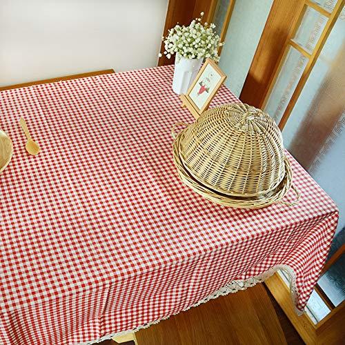 LMDY decoracion del hogar Enrejado Mantel Estilo Rural Fresco salon Comedor Mesa de cafe Escritorio algodon y Lino Mantel Rojo 140 * 220 cm