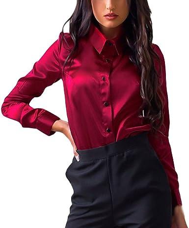 Blusa de Mujer Manga Larga Elegante Camiseta la Seda Moda Blusa Camisa Color sólido Oficina Camiseta Slim Fit Otoño Tops Casual Fiesta T-Shirt Original Sudadera Tumblr Rebajas vpass: Amazon.es: Ropa y accesorios
