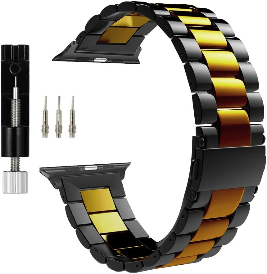 MaKTech Three-Piece Stainless Steel Metal Bracelet Band Compatible with Apple Watch Series 6/SE/5/4/3 (40mm/38mm,Black/Gold)
