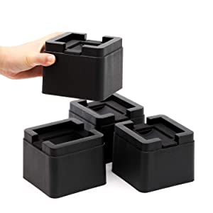 FONDDI Stackable Bed and Furniture Risers - 3 Inch Heavy Duty Black Square Anti Slip to Castor Wheels - for All Types of Desks, Couches, Sofas, Chairs, Dorms, 4 Pack