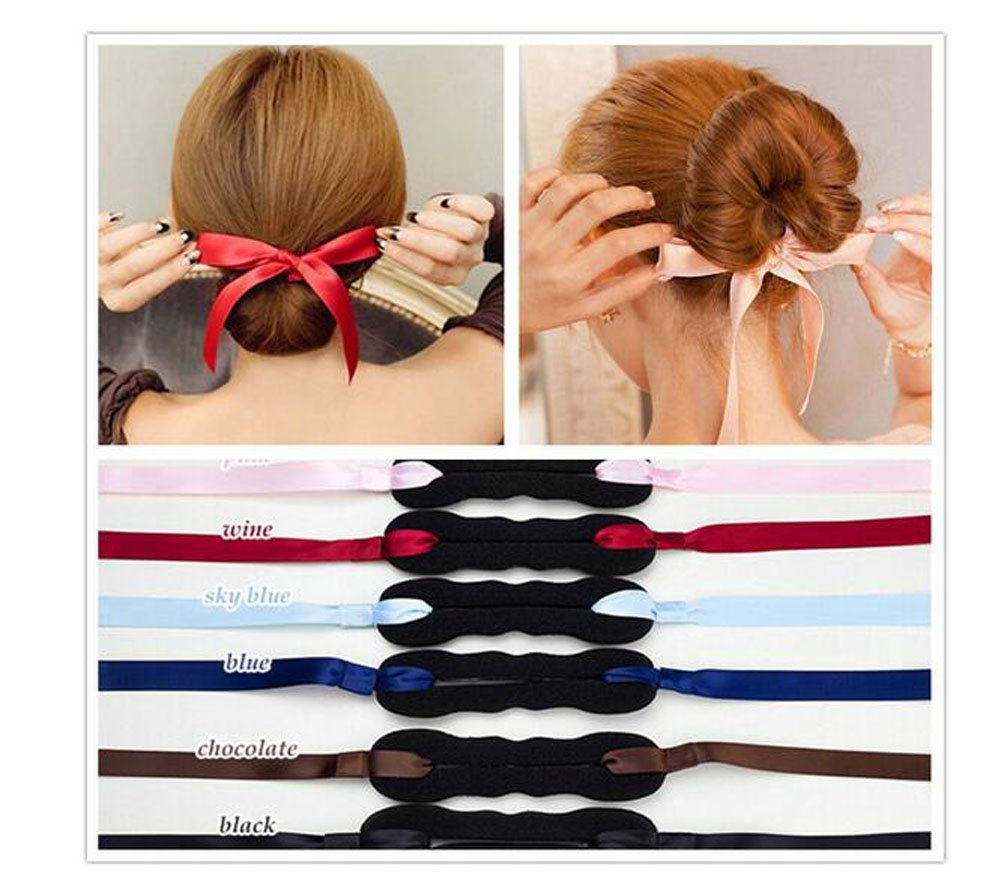 4Pcs Ribbon Magic French Twist Hairband Turban Bun Maker Holder Updo Chignon Former Pads Donut Roll Rings Foam Sponge Clip Hair Styler Curler Braid Ponytail Hairstyle Styling Tool (Black Ribbon) ASTRQLE