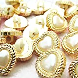 """Fancy & Decorative {15mm w/ 1 Back Hole} 20 Pack of Medium Size """"Popper Shank"""" Sewing & Craft Buttons Made of Acrylic Resin w/ Golden Metallic Faux Pearl Heart Shape Princess Design {Gold Color}"""