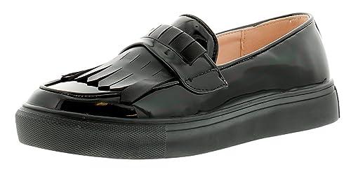 Nuevo Mujer Charol Negro Mocasines Estilo ANTIDESLIZAMIENTO Pantuflas Zapatos - Negro - GB Tallas 3-9 - Negro, 35.5: Amazon.es: Zapatos y complementos