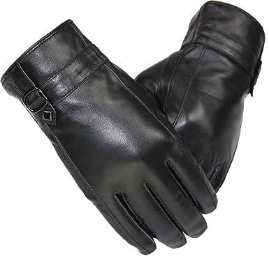 3239518ef59e18 Blansdi Herren Winter Handschuhe aus Echtem Leder Touch Screen ...