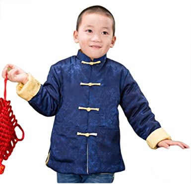06431c685 AvaCostume Boy's Chinese Traditional Tang Coat Winter Warm Jackets,  Blueyellow, ...