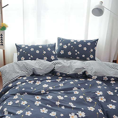 - VM VOUGEMARKET Floral Duvet Cover Set Queen,Daisy Printed Bedding Set,100% Cotton Reversible 3 Pieces Stripes Duvet Cover with Zipper Closure-Full/Queen,Daisy