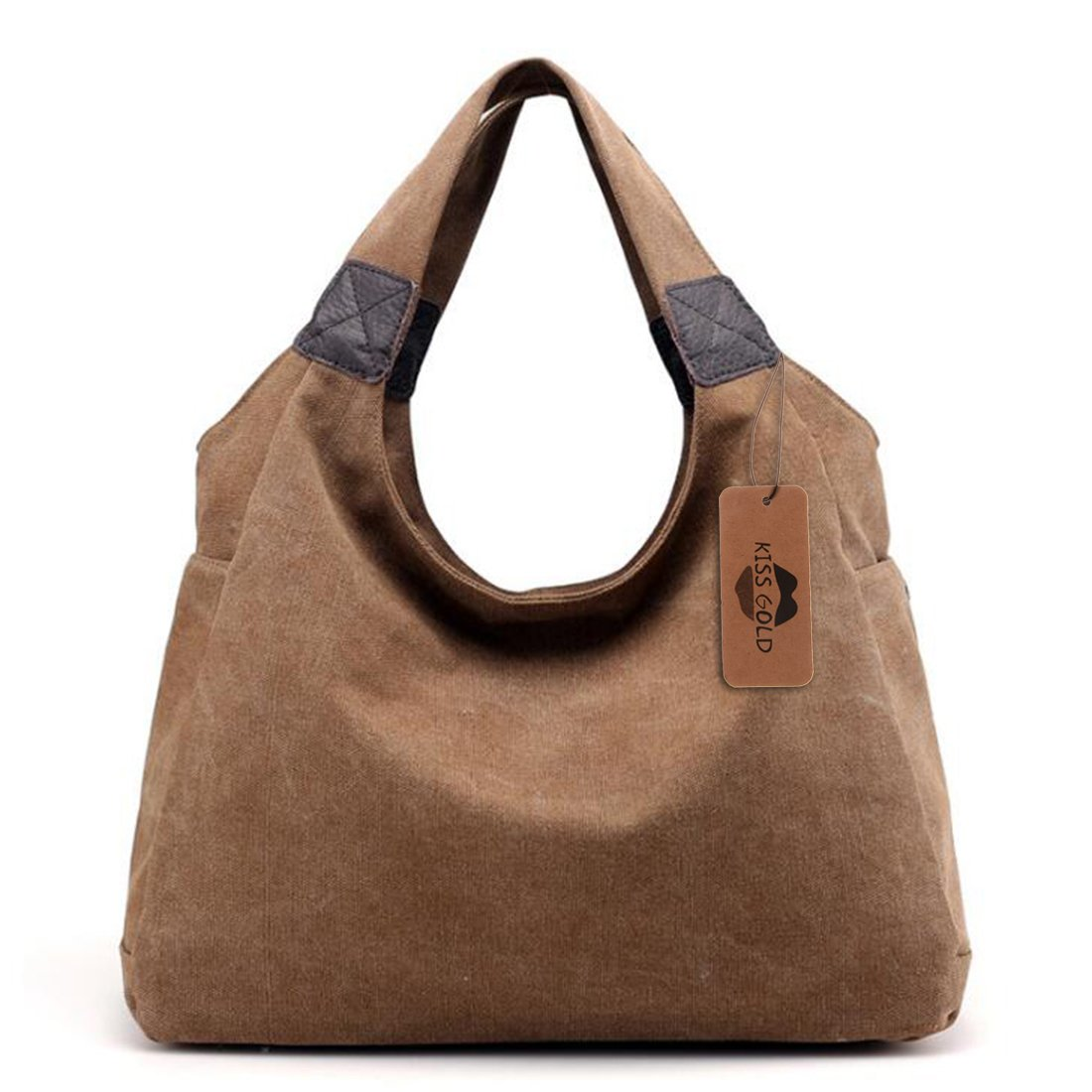 KISS GOLD(TM) Simple Style Canvas Tote Hobo Bag Shopper Handbag For Womens, Model B-Brown