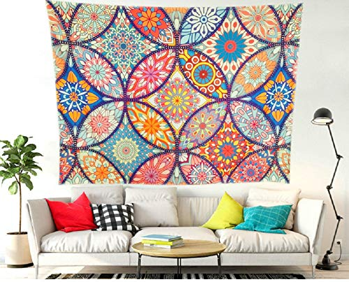 (Unitendo Wall Hanging Boho Bohemian Mandala Trippy Tapestries Psychedelic Indian Polyester Bedspread Picnic Bedsheet Blanket Wall Art Gypsy Ethnic Hippie Tapestry, Colorful.)