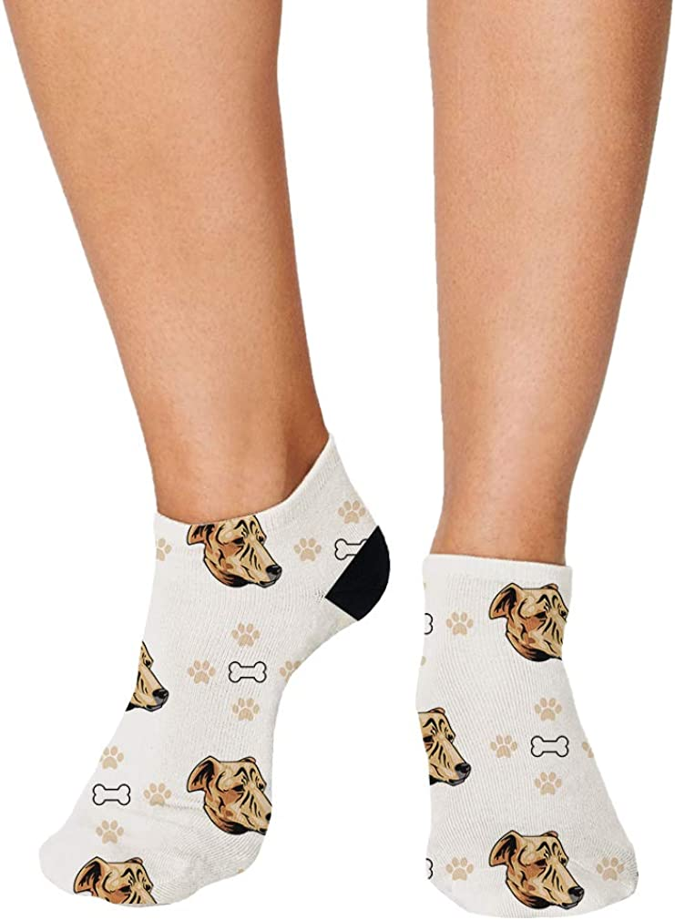 Cretan Hound Dog Bones Paws Pattern Men-Women Adult Ankle Socks