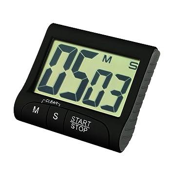 Compra Temporizador Digital electrónica Cocina Cocina Nuevo Reloj con Alarma magnética y Soporte, exhibición Grande del LCD, Blanco by Heligen (Negro) en ...