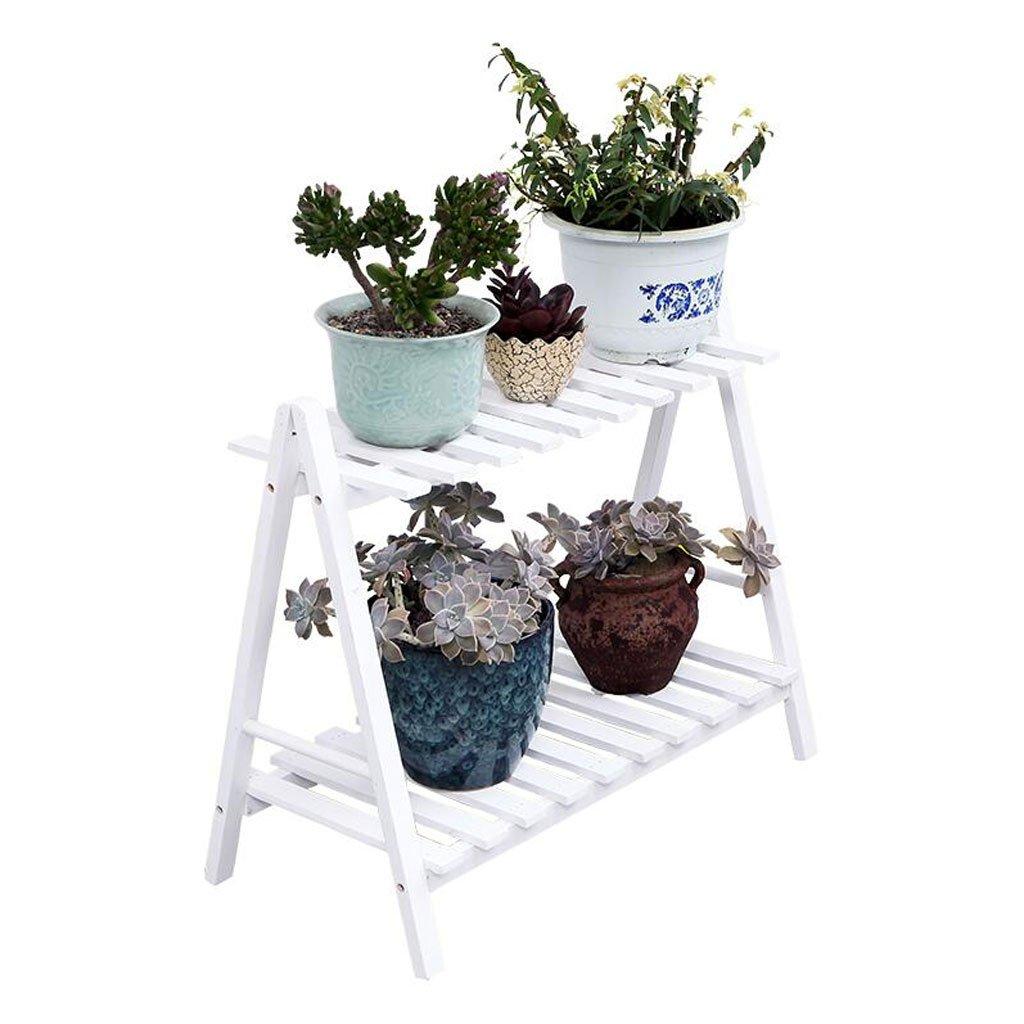 植物収納ラック 多機能木製フラワーディスプレイスタンド、屋内フラワースタンド、2層、植物階段 (Color : White, Size : 70*32*59cm) B07T5CJ141 White 70*32*59cm