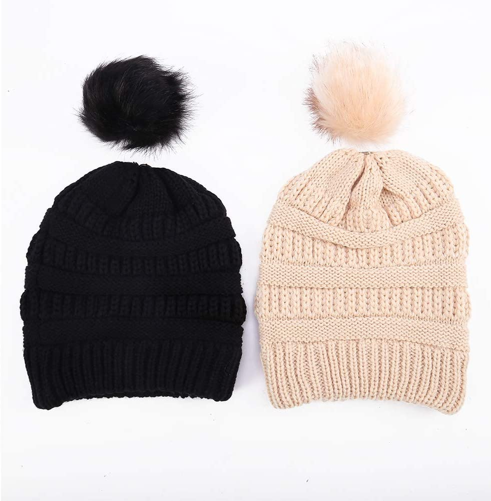 Cable Hand Knit Womens Knitted Beanie Woman Knit Hat Handmade Wool Ladies Faux Fur Extra Large Pom Pom Slouch