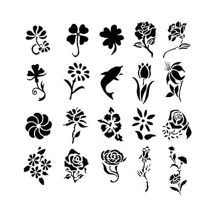 Amazon.com: Airbrush Tattoo Stencil Set 53 Book of 20 Flower ...