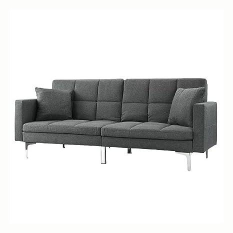 Amazon.com: Grey Linen Split - Back Modern Sleeper Sofa ...
