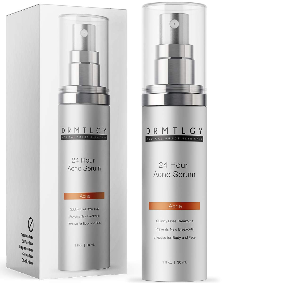 DRMTLGY Acne Spot Treatment and Cystic Acne Treatment. Acne Serum with Micronized Benzoyl Peroxide 5% and Glycolic Acid