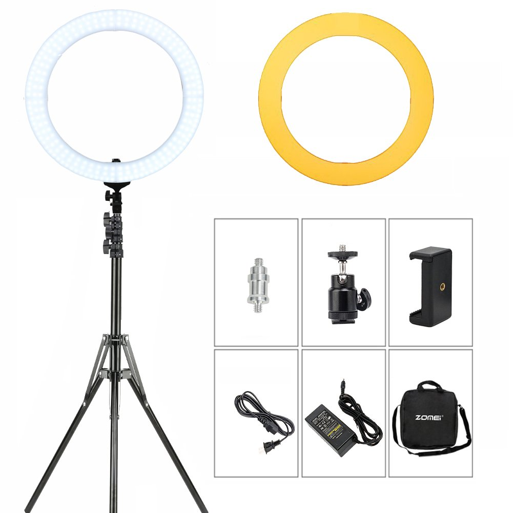 ZOMEI 18'' Dimmable Photography Lights with Stand, Professional 58W 5500K Output Makeup and YouTube Video LED Ring Light, Compatible with Camera Smartphone IPad