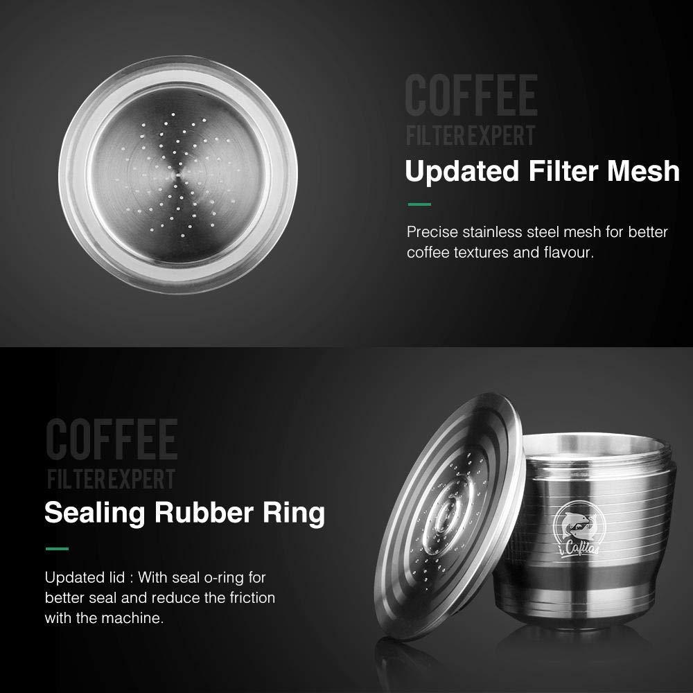 Kapseln wiederverwendbar nachf/üllbar Kaffeekapseln B/ürste Edelstahl Hamkaw Wiederverwendbare Kaffeekapseln Kaffee-Filterbecher kompatibel f/ür Nespresso U Kaffeemaschine mit 1 L/öffel