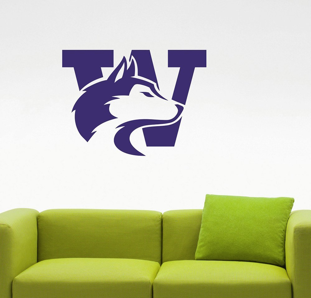 NCAA Washington Huskies Logo Wall Decal College Football Team Sign Vinyl Sticker Extreme Sports Emblem Home Interior Decorations Art Locker Room Decor 1w