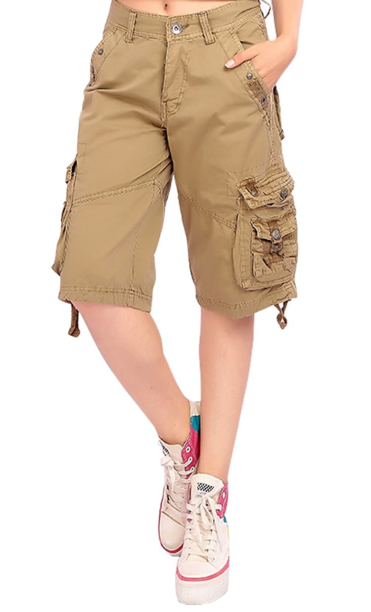 MUST WAY Womens Casual Loose Fit Relaxed Twill Bermuda Cargo Shorts with Multi Pocket