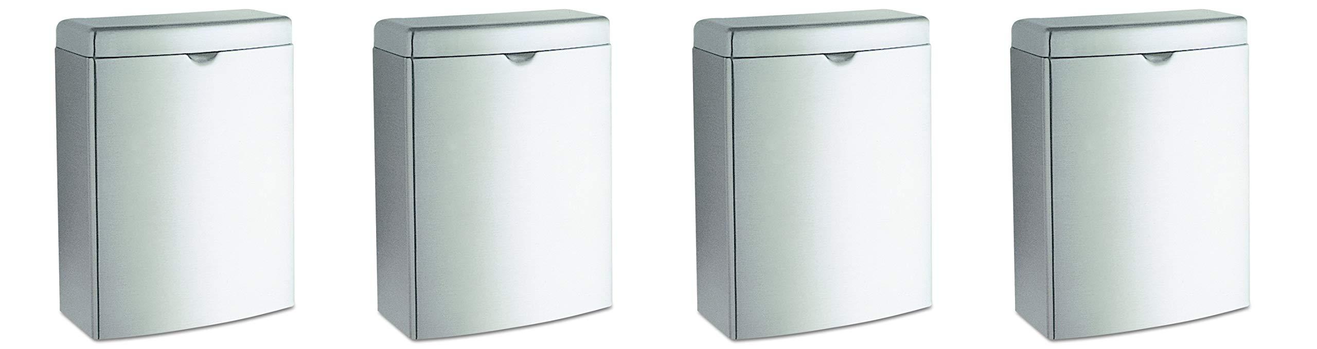 Bobrick 270 Contura Sanitary Napkin Receptacle, Rectangular, Stainless Steel, 1gal (Pack of 4) by Bobrick