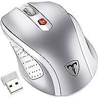VicTsing Ratón Inalámbrico Mini, Portátil 2.4G con Receptor Nano, 6 Botones, 2400DPI, 5 dpi Adjustables (Plata)