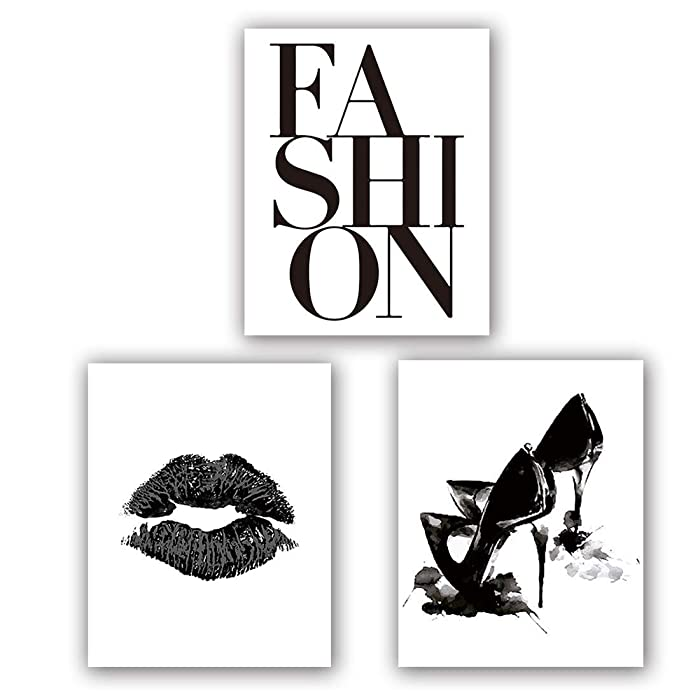 "Fashion Art Print Set of 3 (8""X10""Minimalist Makeup Art, Fashion Lips Shoes Watercolor Printing for Women Gifts, Vogue Black and White Canvas Wall Art Poster for Living Room Decor, No Frame"