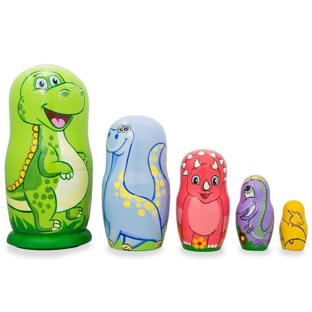 BestPysanky Set of 5 Dinosaurs Wooden Nesting Dolls 6 Inches