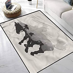 Carpet Western,Cowboy Chasing Wild Horse Colorful Multicolor Area Rug for Christmas Thanksgiving Holiday Decor 4 x 6 Feet