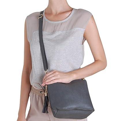 d963eef7a3be ... Humble Chic Mini Tassel Cross Body Bag - Small Vegan Leather Zipper  Crossbody Handbag Shoulder Purse ...