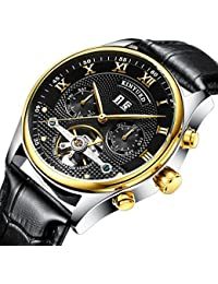 2017 KINYUED Original Stainless Steel Automatic Tourbillion Black Genuine Leather Band Men's Watch