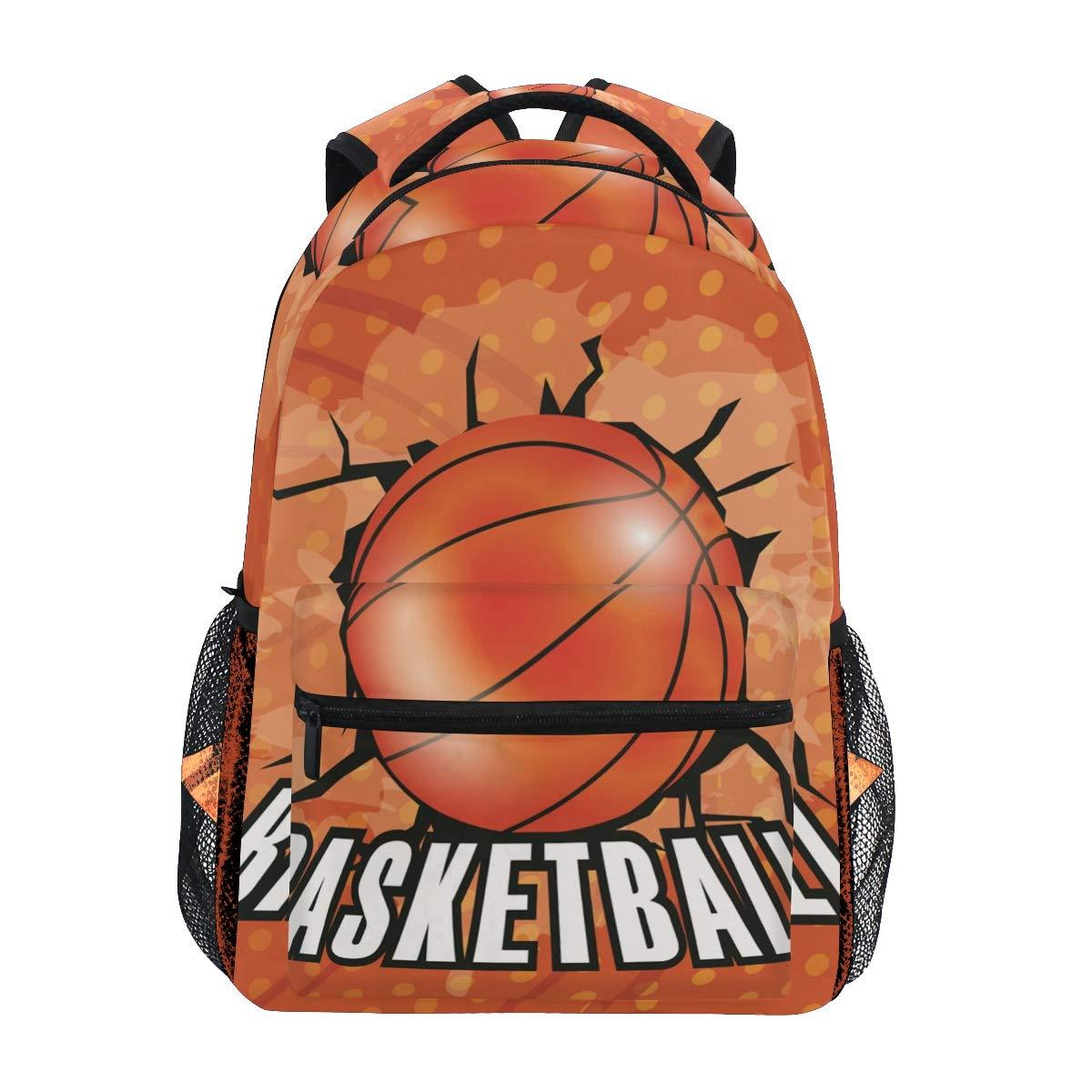Baloncesto De Arte Naranja Mochila Escolar Impermeable Mochilas ...