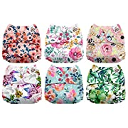 Mama Koala One Size Baby Washable Reusable Pocket Cloth Diapers, 6 Pack with 6 One Size Microfiber Inserts (Black & White)