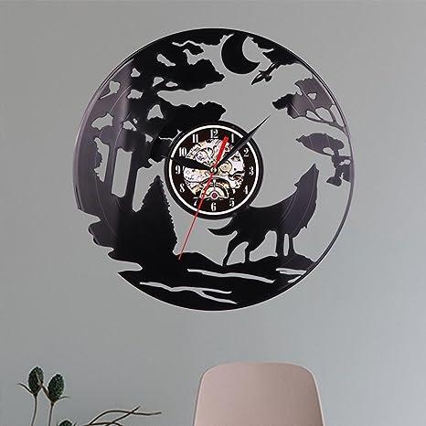 YOYORI Reloj de pared con diseño de lobo de vinilo, diseño vintage