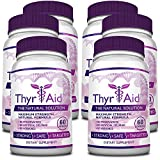 ThyrAid - #1 Thyroid Support - With Iodine, Kelp, Schisandra, Vitamin B12, Selenium, Ashwaghnada. Manage Hypothyroidism Symptoms, Support Adrenal Glands - 100% Money Back - 6 Bottles (6 Months Supply)