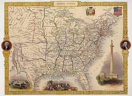 Amazon Com Wonderfulitems Map United States 1800 Washington Buffalo