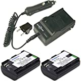 2x LP-E6 battery and 1x Charger for Canon Camera EOS 5D Mark II III 5D4 6D 60D 7D 70D and and DSLR BG-E14, BG-E13, BG-E11, BG-E9, BG-E7, BG-E6 Grips