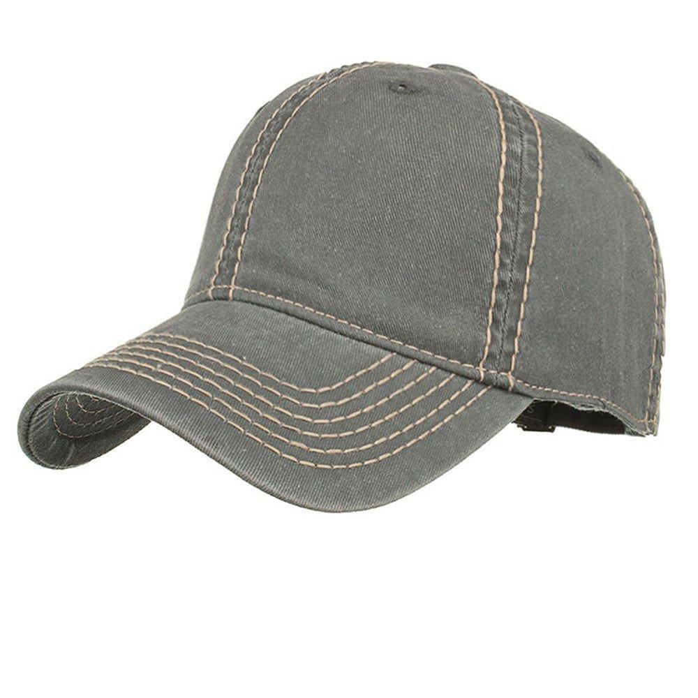 ab71a55ee58724 Amazon.com: Unisex Adjustable Baseball Hat Adjustable Washed Snapback Cap  Hip Hop Flat Hat Solid Color Casual Cap Outdoor Sport Hat (Black): Clothing