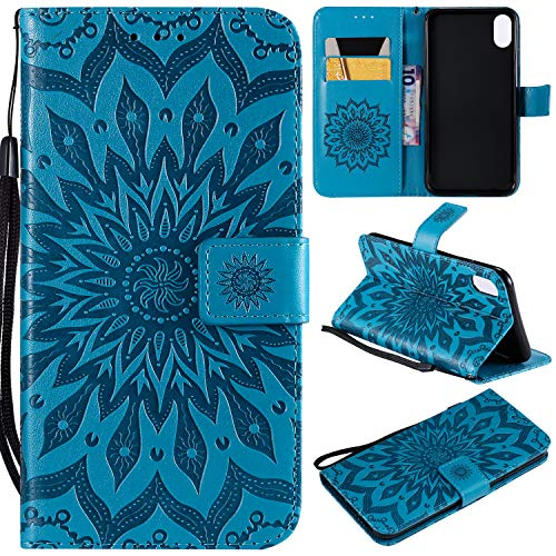 Price comparison product image NOMO iPhone Xs Max Case, iPhone Xs Max Wallet Case, iPhone Xs Max Flip Case PU Leather Emboss Mandala Sun Flower Folio Magnetic Kickstand Cover with Card Slots for iPhone Xs Max Blue